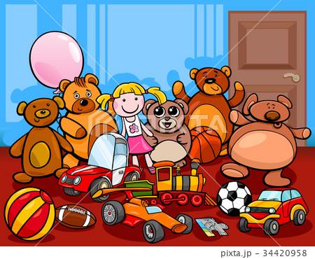 toys group cartoon illustration 34420958