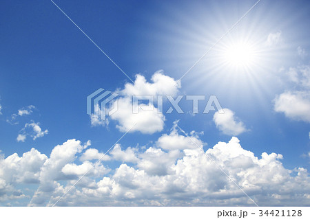 Blue sky white clouds sun light 34421128