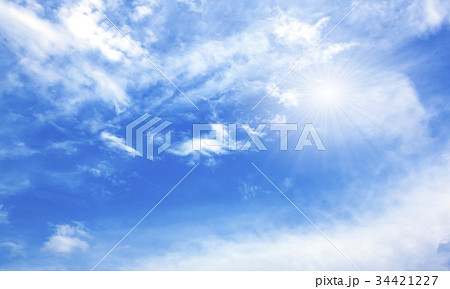 Blue sky white clouds sun light generated  34421227