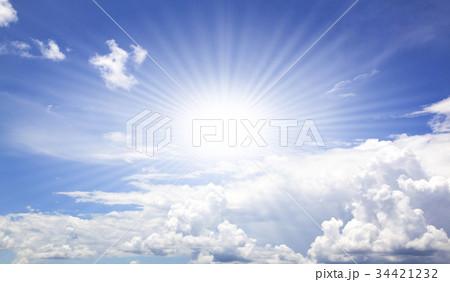 Blue sky white clouds 34421232