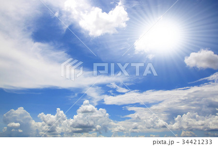 Blue sky white clouds  34421233