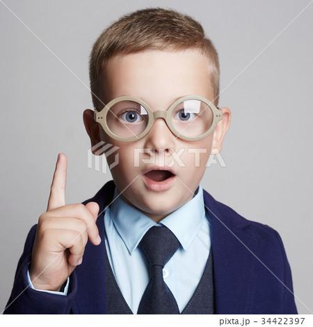 funny child in glasses.genius Kids 34422397