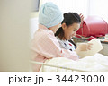 闘病中の母と病室で過ごす女の子 34423000