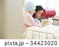 闘病中の母と病室で過ごす女の子 34423020