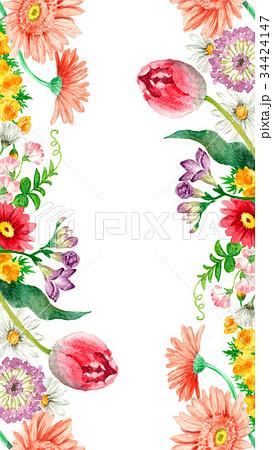 春の花のタテボーダーフレーム 34424147