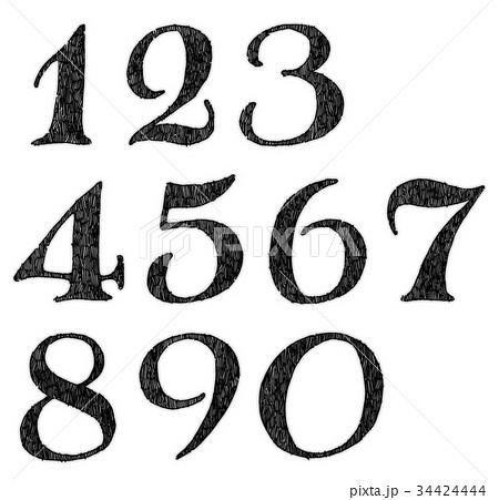 ボールペンで描いた数字のイラスト素材 34424444 Pixta
