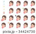 スカーフ 女性 斜め 顔セット 34424730