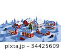 クリスマス 街 クリスマスツリーのイラスト 34425609