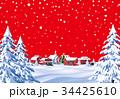 クリスマス 街 ホワイトクリスマスのイラスト 34425610