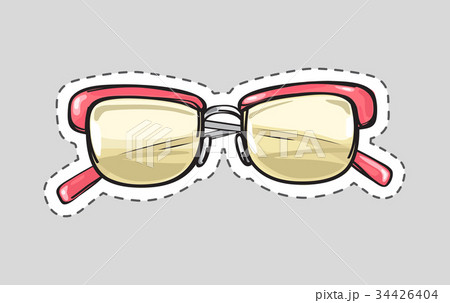 classic glasses icon patch isolated cut out vectorのイラスト素材