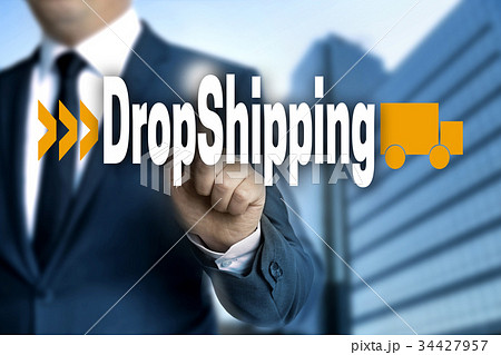 DropShipping touchscreen is operated by businessmanの写真素材 [34427957] - PIXTA