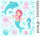 マーメイド マーメード 人魚のイラスト 34430999