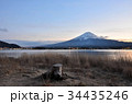 Mt Fuji at sunset, with tree stump in foreground 34435246