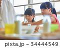 小学生 女の子 給食の写真 34444549