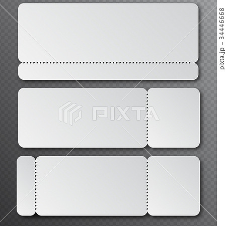white clear ticket template with tear off elementのイラスト素材