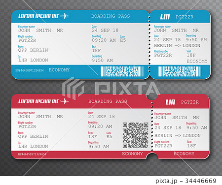airline boarding pass ticket tear off element setのイラスト素材