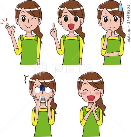 主婦の表情バリエーションイラストセット 34449801