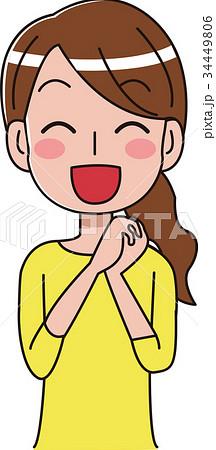 喜ぶ女性のイラスト 34449806