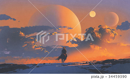 cowboy riding a horse against sunset sky 34459390