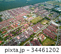Aerial View - Houses and buildings in a small town 34461202