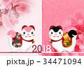 戌 年賀状 桜 背景  34471094