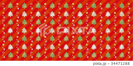 クリスマスツリーのかわいい手描き風背景(赤) 34471288