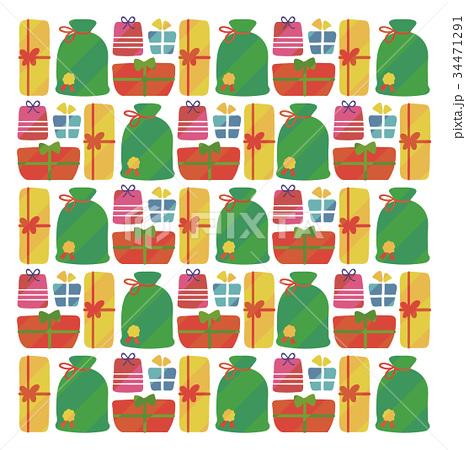 クリスマスプレゼントのかわいい手描き風背景 34471291
