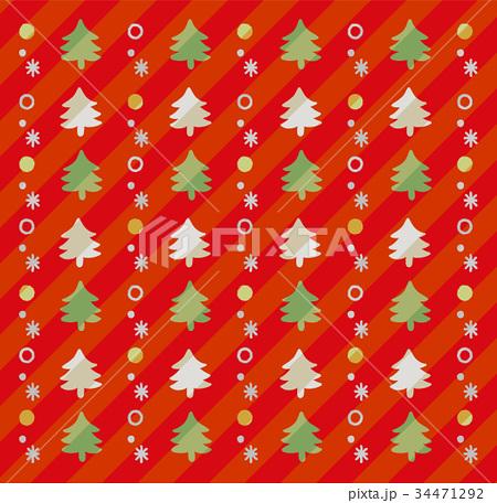 クリスマスツリーのかわいい手描き風背景(赤) 34471292