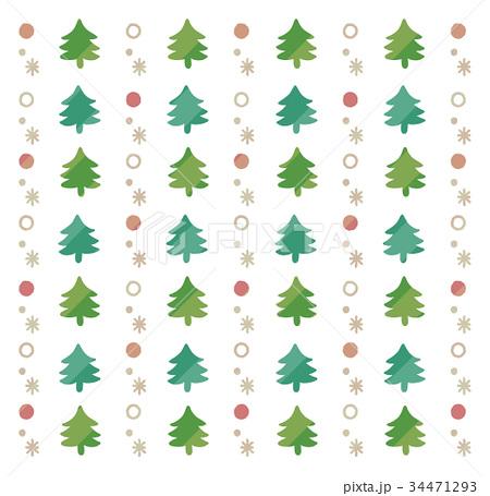 クリスマスツリーのかわいい手描き風背景(白) 34471293