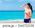 ビーチ 浜辺 女性の写真 34472536