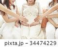 女性 ベビーシャワー 妊婦の写真 34474229