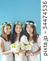 女性 3人 ブルーバックの写真 34474536