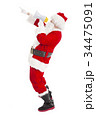 Santa Claus holding megaphone with pointing 34475091