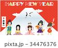 年賀状テンプレート 三太郎と二姫 34476376