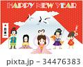 年賀状テンプレート 三太郎と二姫 34476383