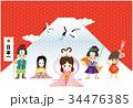 年賀状テンプレート 三太郎と二姫 34476385
