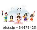 年賀状テンプレート 三太郎と二姫 34476425