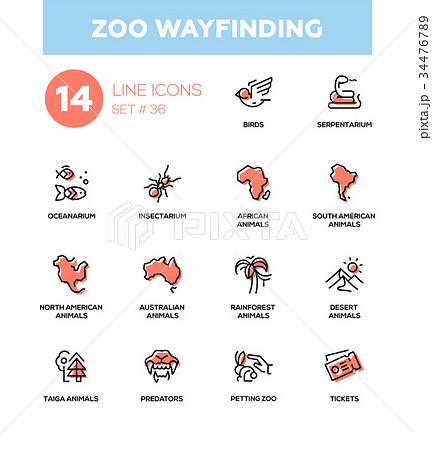 Zoo wayfinding - modern vector single line icons 34476789
