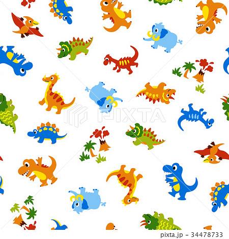 可愛い恐竜の柄のイラスト素材 34478733 Pixta
