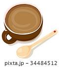 コーヒーと陶器のスプーン 34484512
