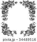 ペン画 フレーム 花のイラスト 34489516