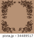 ペン画 フレーム 花のイラスト 34489517