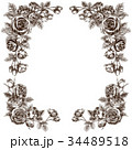 ペン画 フレーム 花のイラスト 34489518