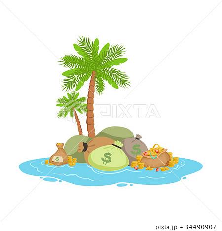 Big pile of money lying on a tropical island 34490907