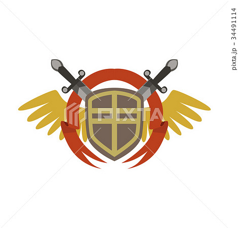 Medieval coat of arms with crossed swords and 34491114