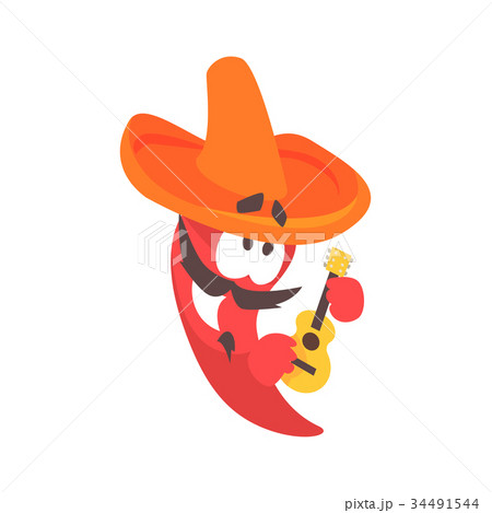Funny cartoon red pepper character wearing 34491544