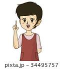 チラシやカタログでカットとして使えるエプロンを着た主婦のイラスト 34495757