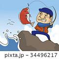 釣り雑誌やカタログ、チラシでカットとして使用できる釣りをする年配の男性のイラストカット 34496217