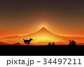 犬 戌年 富士山のイラスト 34497211