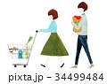 買い物 夫婦 人物のイラスト 34499484